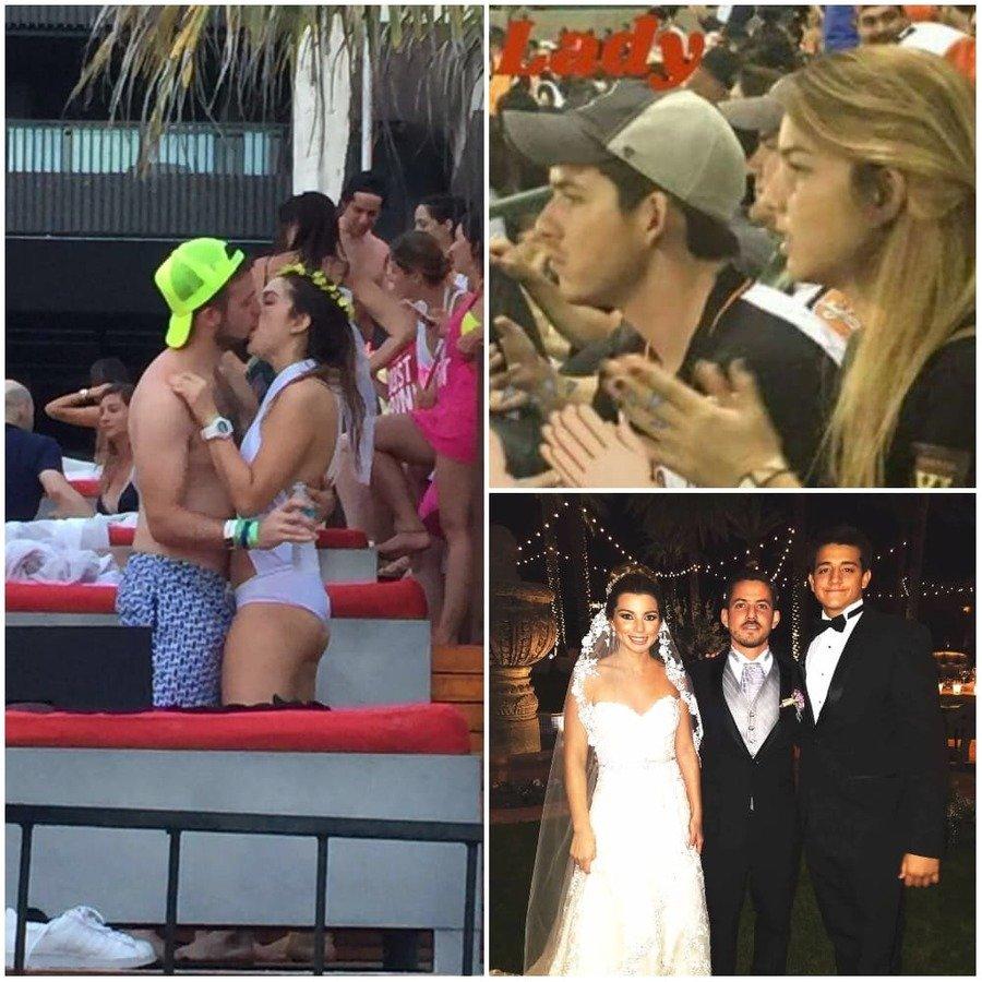 Emilia besando otro hombre / Emilia sentada junto a Pablo / Pablo y Emilia en su boda junto a un invitado.