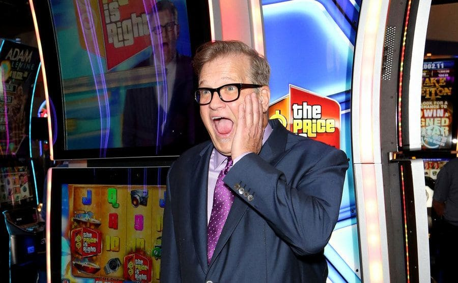 Drew Carey reacts to seeing his image on The Price if Right Video Slots slot machine.