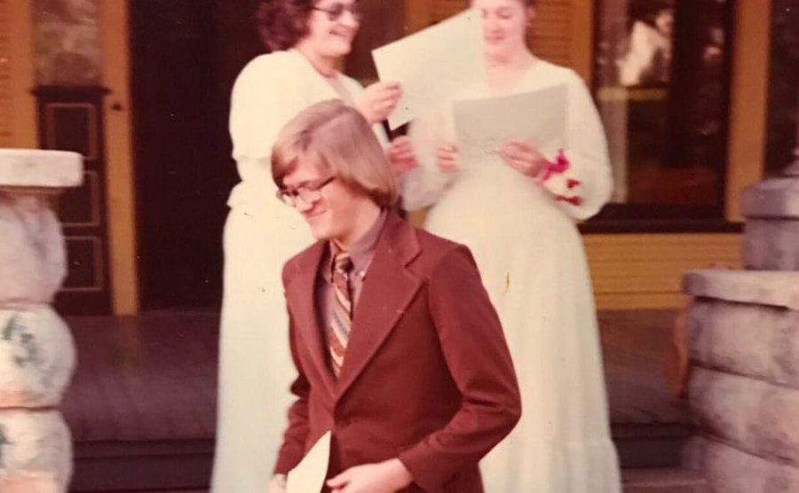 Drew Carey in his college years in the fall of 1975 outside Delta Tau Delta house.