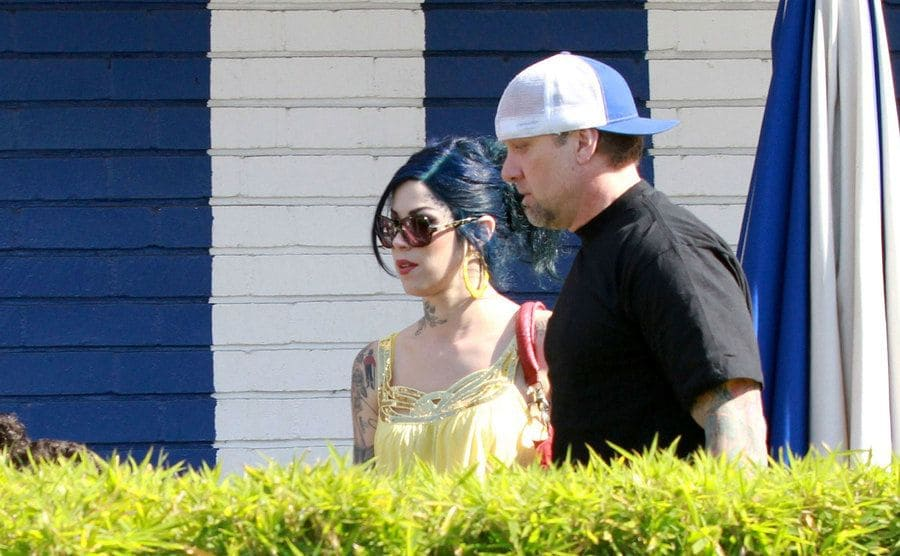 The press spots on Kat Von D and Jesse James as they exit a restaurant.