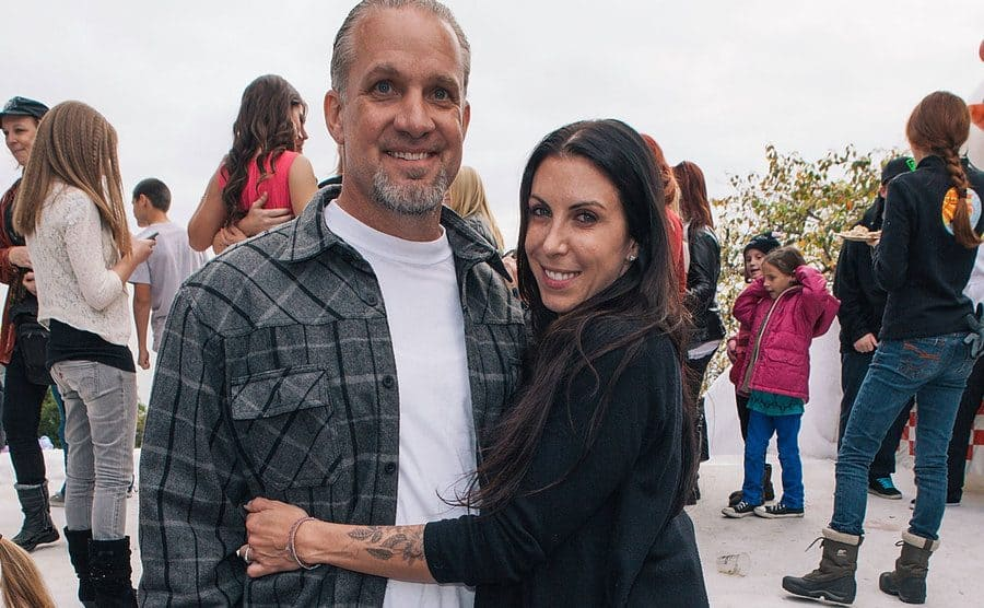 Jesse James and Alexis DeJoria are attending a snowed-themed family event.