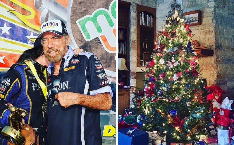DeJoria hugs her father after a race / A Christmas Tree inside DeJoria's house.