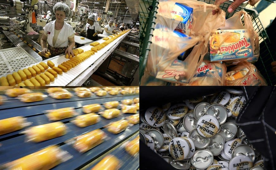 """Factory workers / Boxes of Twinkies / Twinkies / """"I Saved The Twinkie"""" pins"""