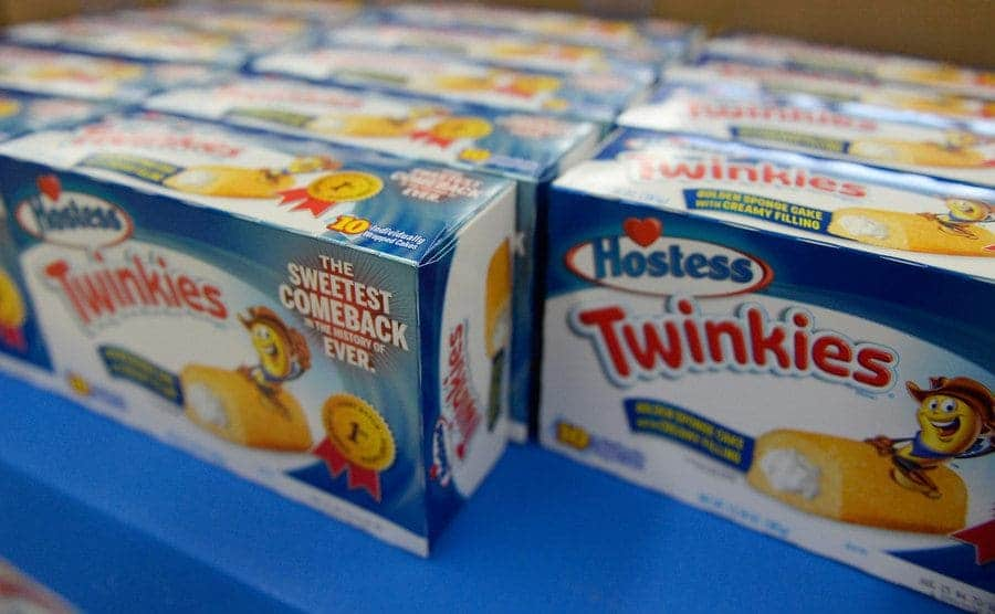Hostess Twinkie snack cakes are on display at a store.