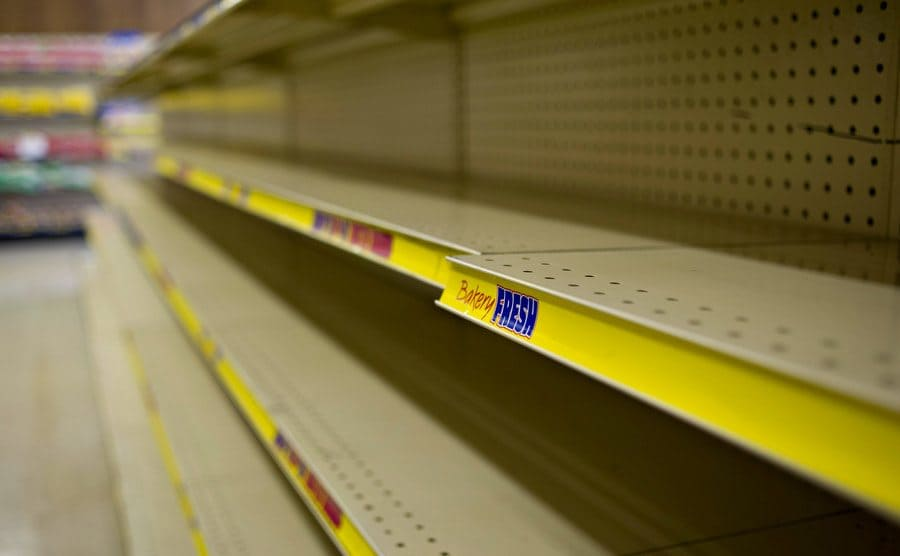 Store shelves which are typically filled with Twinkies, stand empty.