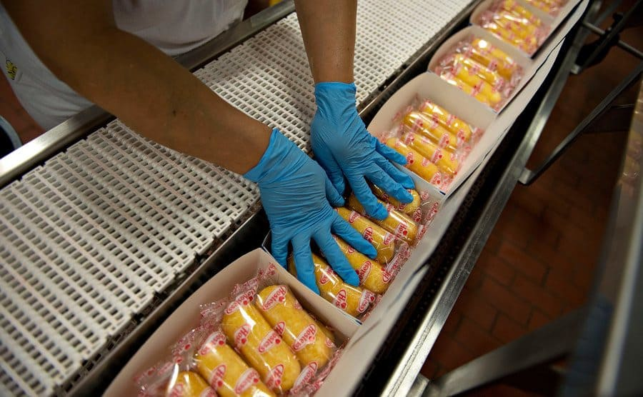 Twinkies snack cakes are boxed at the company's factory.