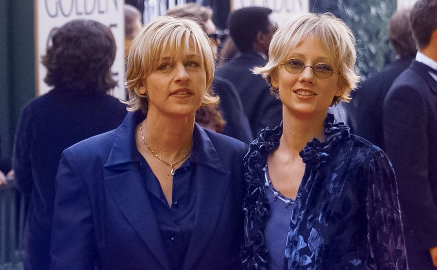 Ellen DeGeneres and Anne Heche arrive at the 55th Annual Golden Globes Awards.