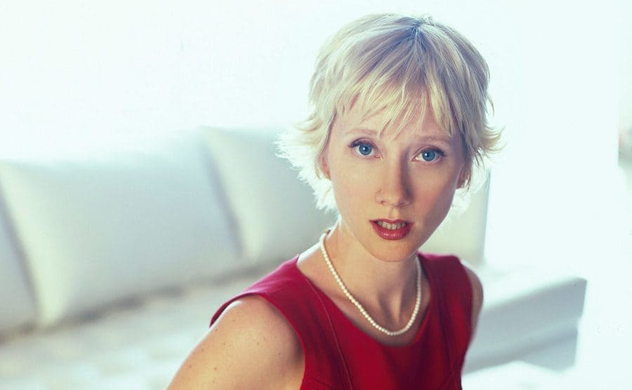 Ann Heche poses for a portrait on the couch.