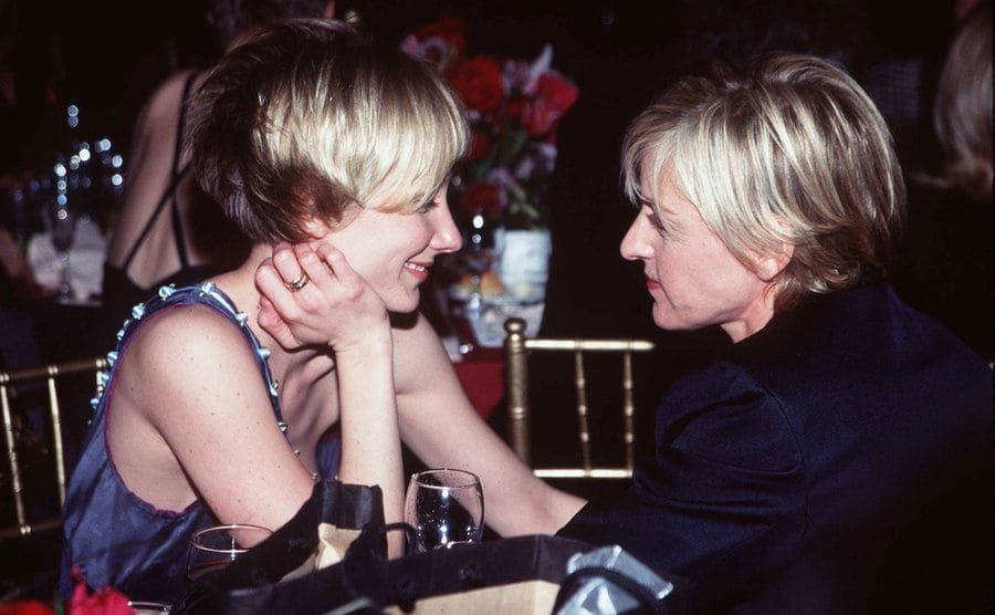 Anne and Ellen stare into each other's eyes.