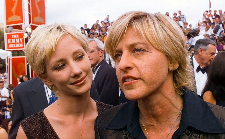 Ellen DeGeneres and Anne Heche arrive at the Emmy Awards Show.