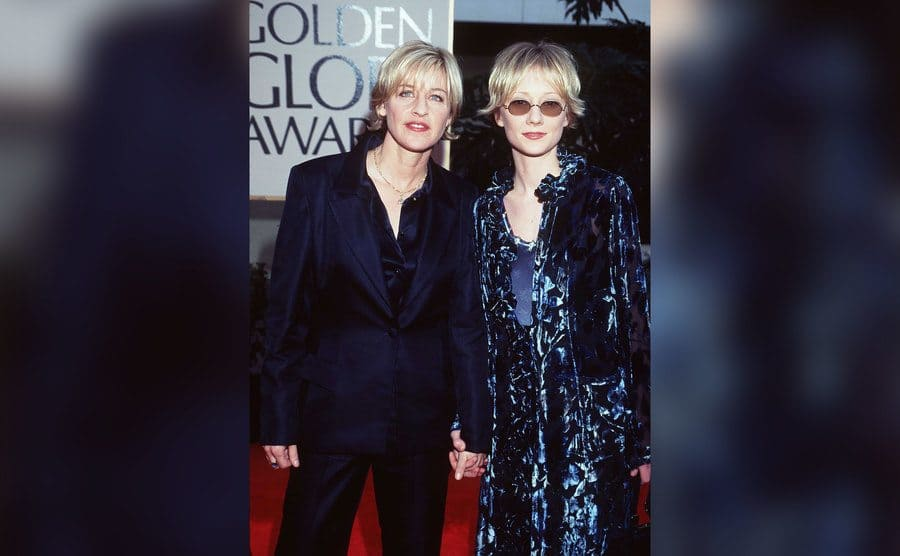 Ellen DeGeneres and Anne Heche at the Golden Globe Awards.