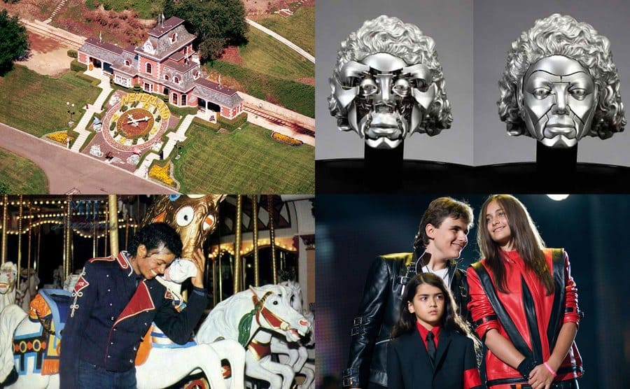 The Neverland Ranch / Michael Jackson's sculpture / Michael Jackson / Prince Michael Jackson, Blanket Jackson, Paris Jackson.