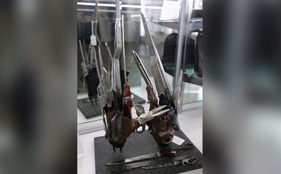 Edward Scissorhands gloves on display.