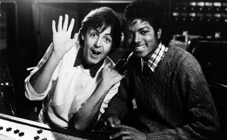 Paul McCartney and Michael Jackson in the studio.