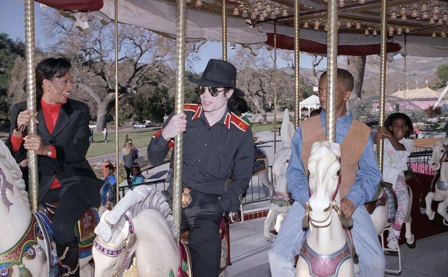 Michael Jackson in his carousel.