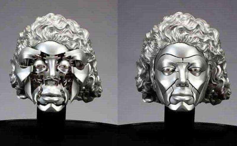 A robotic Michael Jackson head sculpture.