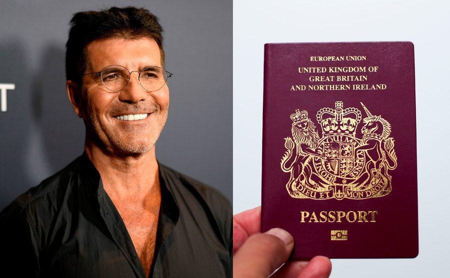 Simon Cowell attends an event / A man holds a British passport.