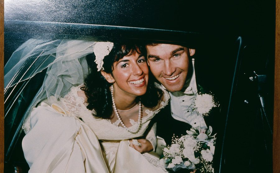 Carol and Charles Stuart on the day of their wedding.