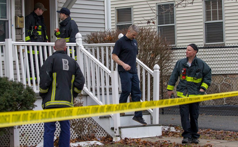 First responders tape off a house that has an apparent carbon monoxide leak.