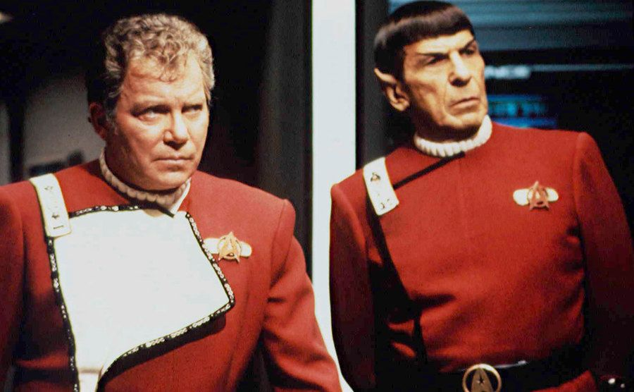 William Shatner and Leonard Nimoy in a still from Star Trek.