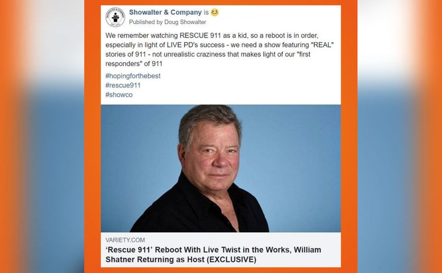 A tweet announcing the reboot with Shatner.