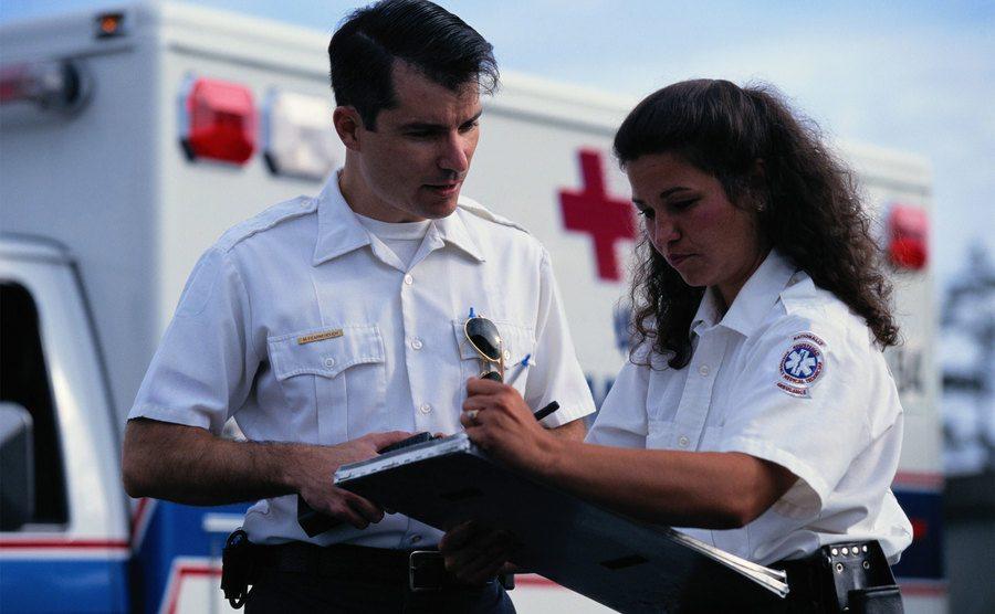 Paramedics arrive on the scene.
