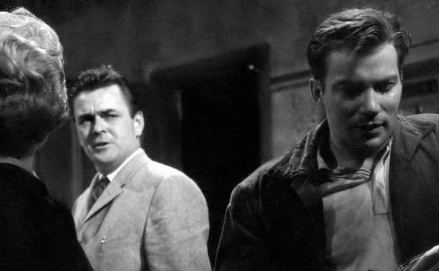 William Shatner and James Doohan in a still from The Well.