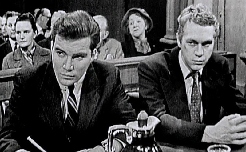 Shatner and McQueen in a still from The Defender.