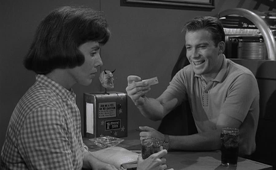 William Shatner and Patricia Breslin in an episode of The Twilight Zone.