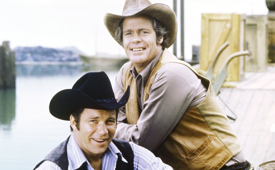 William Shatner and Doug McClure are smiling in a promotional photo for 'Barbary Coast.'